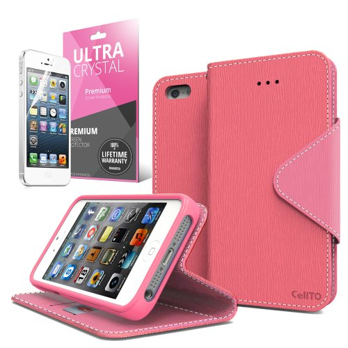 [ iPhone 5C Case] Cellto iPhone 5C Case Wallet Flip Type with HD Screen Protector [Slim Fit] [Hot Pink] Diary Cover /w ID Slot Top Quality with Premium PU Leather and TPU Dual Layer - EPI Style