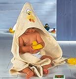 Baby Butt Kapuzenbadetuch mit Applikation Ente Frottee creme Größe 80x80