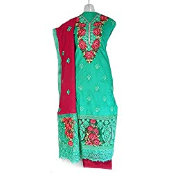Lattice Embroidered Straight Cotton Dress Material Set