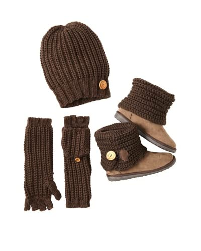 MUKLUKS Women's Patti Foldover Boot, Fingerless Flip Gloves & Beanie  [Brown]