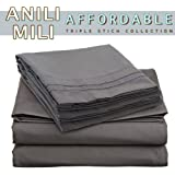 Anili Mili's Triple Stitch Embroidery Affordable 4 PC Bed Sheet Set - Queen Size, Gray