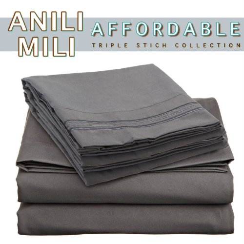 For Sale! Anili Mili's Triple Stitch Embroidery Affordable 4 PC Bed Sheet Set - Full Size, Gray