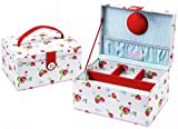 Button It | Strawberries & Cream | medium strawberry sewing box with blue gingham lining