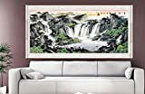 "Waterfall Painting,Large Asian Wall Scroll Chinese Feng Shui Landscape Paintings 80""x28"""