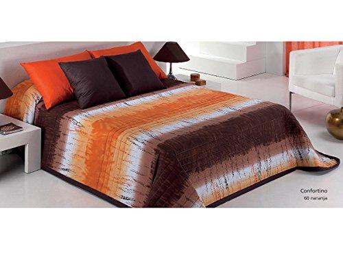 Textilhome - Colcha Bouti Libra color Naranja cama 105 cm