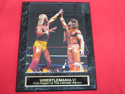 the-ultimate-warrior-hulk-hogan-wrestlemania-vi-engraved-collector-plaque-w-8x10-photo