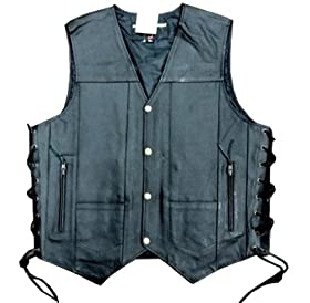 Men's Leather 10 Pockets Motorcycle Biker Vest New All Sizes (3XL (CHEST 52-54 INCHES))