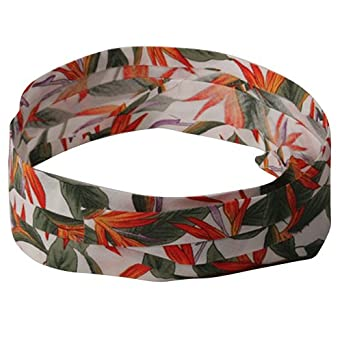 Pleated Fabric Print Hat Band - M Flower Print