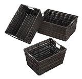 Baskets Espresso Set of 3 Storage Organize Bin Small Rattan Carrying Home Office