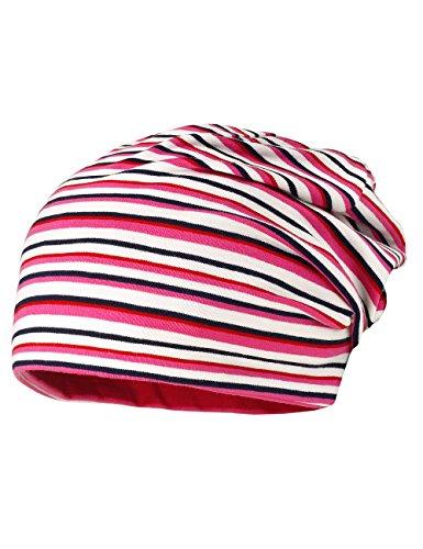 MaxiMo - Beanie Middle, Jersey, Reversible, Upf 50+, Berretto da bambine e ragazze, Multicolore(mehrfarbig (weiss-caban-leuchtpink 8606)), taglia produttore: 53