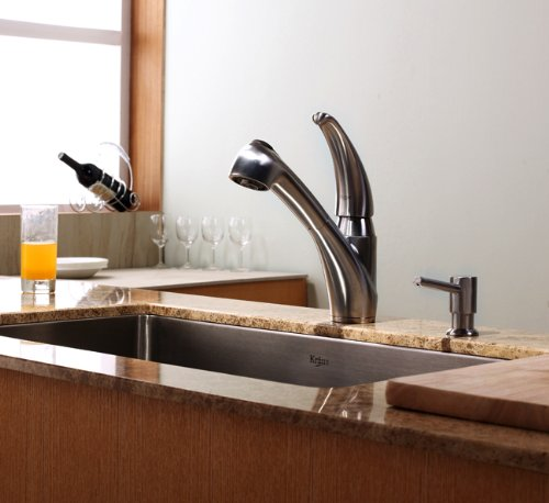 Kraus Stainless Steel Single Lever Pull Out Swivel Spout Kitchen Sink Faucet and Soap Dispenser