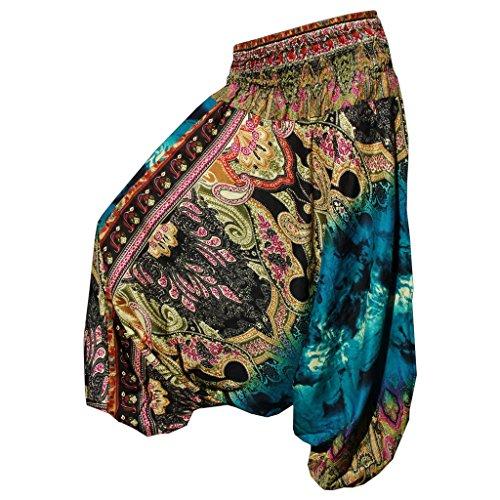 Panasiam - Pantaloni harem, taglia M-L (edizione limitata, prodotti da aziende a conduzione familiare, disponibilità soggetta a limitazioni) - taglia unica - Batik blau
