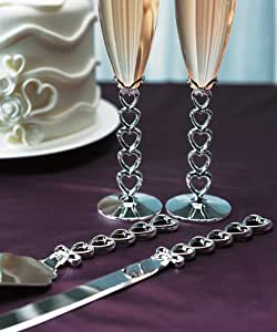 Silver Plated Stacked Hearts Cake Serving Set