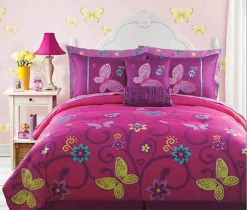 Pink Yellow Teal Butterfly Teen Girls Full Size