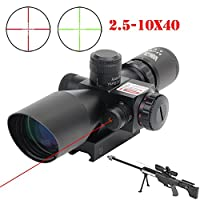 Vokul 2.5-10x40 Tactical Rifle Scope Red & Green Laser Dual Illuminated Mil-dot with Rail Mount from Vokul