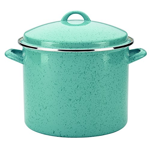 Paula Deen Signature Enamel on Steel Stockpot, 12 quart, Aqua Speckle