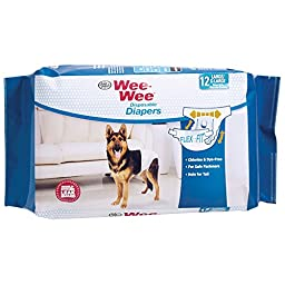 Wee-Wee Products Disposable Dog Diapers (12 Pack), Large/X-Large