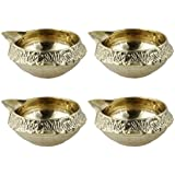 "Setof 4 Handmade Indian Brass Oil Lamp - Diya Lamp Tea Lights Night Light Candle - 1.5"" X 1.5"" X 1.5"""