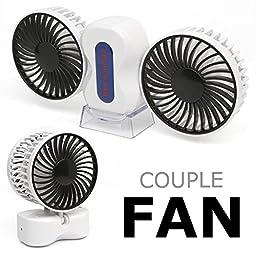 Bobonida Portable USB Couple Fan Dual head Fan Desktop USB Fan Mini fan for office or home cooling 360 Degree Rotation (white)