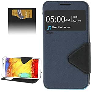 Crazy4Gadget Roar Series Cross Texture Leather Case with Call Display ID & Credit Card Slots & Holder for Samsung Galaxy Note 3 Neo / N7505(Dark Blue)