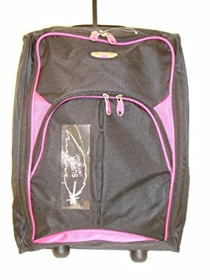 Borderline Black And Pink 2 Wheeled Super Lightweight Hand Luggage Holdall Onboard Cabin Bag Suitable For Easy Jet, Jet2, Ryanair, Monarch, First Choice, British Airways, Thompson by Borderline