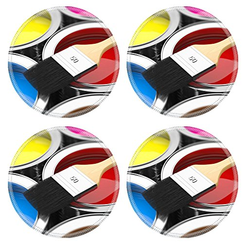 MSD Round Coasters IMAGE 29128071 Paintbrush on cans with color prints Concept (Red House Painters Rollercoaster compare prices)