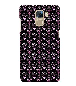 Printvisa Premium Back Cover Diamond Shaped Pink And Black Pattern Design For Huawei Honor 7