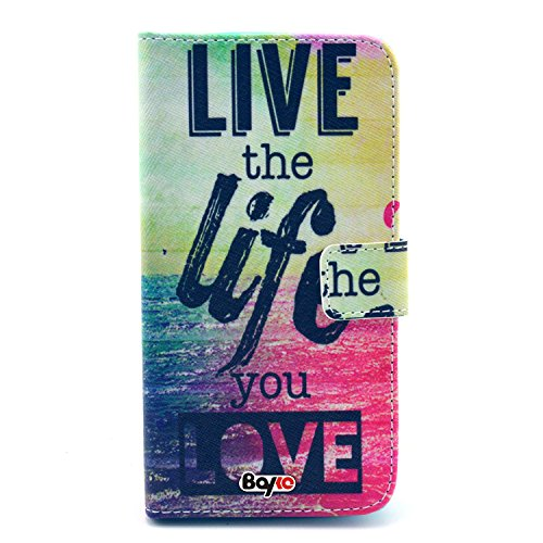 Bayke Brand / Iphone 5C Smartphone Fashion Pu Leather Wallet Flip Protective Skin Case With Stand With Credit Card Slots & Holder For Apple Iphone 5C (Live The Life You Love Pattern Design)