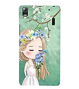Vizagbeats Girl with Roses Back Case Cover for Lenovo A7000