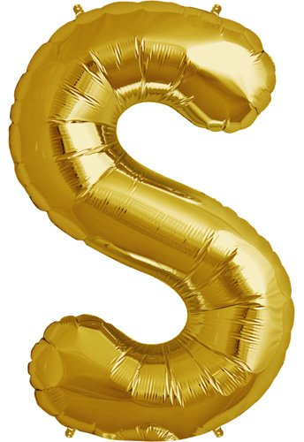 Letter S - Gold Helium Foil Balloon - 34 inch