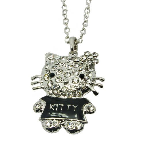 Cute Cat Full Cubic Zircon Stone Inlay Sweater Necklace