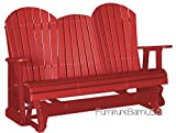 Outdoor Polywood 5 Foot Porch Glider - Adirondack Design *RED* Color