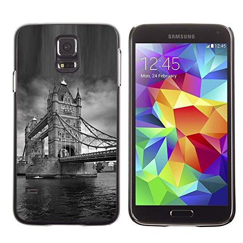 Qcase Slim Pc / Aluminium Sleek Case Cover Armor Shell -- Architecture London Bridge Black & White -- Samsung Galaxy S5
