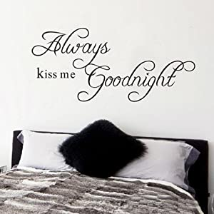 Always Kiss Me Goodnight Quote Decal Removable Art Wall Sticker Home Décor