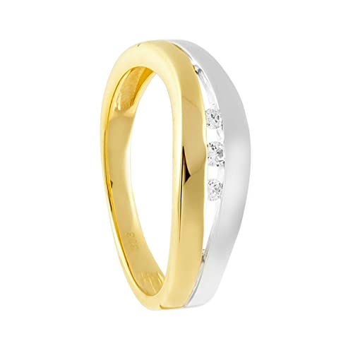 Diamond Line Women's Ring 333 Yellow Gold Rhodium Plated Diamond (0.07 CT) White Brilliant Cut 122201 Size 54 (17.2)