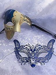 New Blue Musical Phantom Couple Mask w/ Blue Bendable Metal Cat Women\'s Mask Masquerade Couple Ball Mask