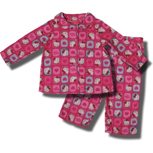 Hello Kitty 2 piece Coat Style Flannel Pajamas for Toddler ...