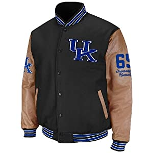 NCAA Kentucky Wildcats Varsity Letterman Button-Up Jacket - Black Tan by Colosseum