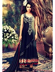 Grey Black Shaded Anarkali Suit In Georgette With Stone Work