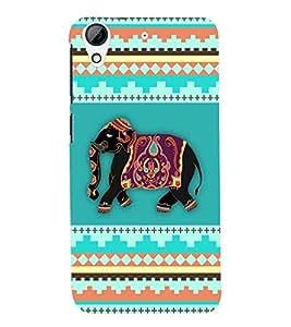 Fuson Premium Elephant Art Printed Hard Plastic Back Case Cover for HTC Desire 626