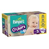 Pampers Cruisers Diapers Economy Pack Plus Size 5, 140 Count (Packaging May Vary)