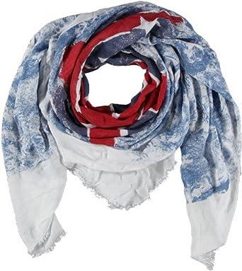 PASSIGATTI Damen Schal 44449, Gr. one size, Blau (2-blau-rot)