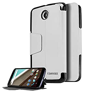 CoverBot Google Nexus 6 Flip Wallet Case with Stand WHITE. Slim Style with Folio Flip Cover