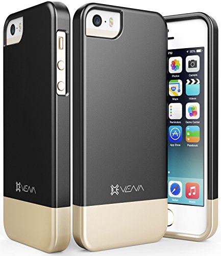 iPhone SE Case, Vena [iSlide][Two-Tone] Dock-Friendly Slim Fit Hard Case Cover for Apple iPhone SE / 5s / 5 (Black/Champagne Gold) (Pretty Iphone 5s Cas compare prices)