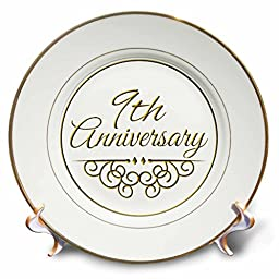 3dRose cp_154451_1 9th Anniversary Gift Gold Text for Celebrating Wedding Anniversaries 9 Ninth Nine Years Together Porcelain Plate, 8-Inch