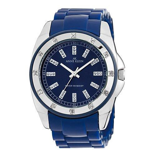 AK Anne Klein Women's 109179BLBL Silver-Tone Swarovski Crystal Accented Blue Plastic Watch
