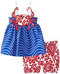 Mud Pie Baby-Girls Newborn Crab Short Set, Blue/Red, 6-9 Months