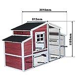 XXL Hühnerstall mit Freilauf und erhöhtem Unterschlupf, Fichtenholz, mit Teerdach, 2000x810x1160 mm -