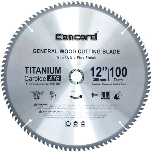 Concord blades wcb1200t100hp 12 inch 100 teeth tct general for 12 inch table saw blades