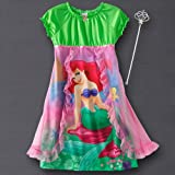 Girls Disney Princess Ariel Green & Pink Nightgown with Toy Wand